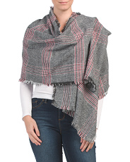 Plaid Menswear Scarf With All Over Fringe