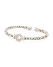 Made In Italy 14k And Sterling Silver Cz Circle Bracelet