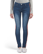 Juniors Side Stripe Skinny Jeans