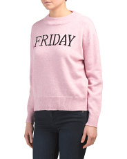 Juniors Days Of The Week Print Long Sleeve Top