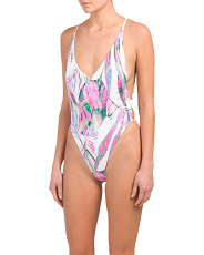 Groovy Palm High Leg One-piece Swimsuit