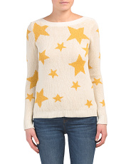 Long Sleeve Pullover Sweater With Stars