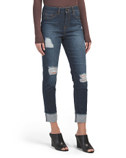High Waist Roll Cuff Destructed Jeans