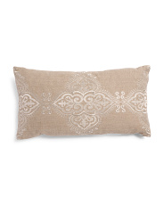 Made In India 14x26 Embroidered Linen Pillow