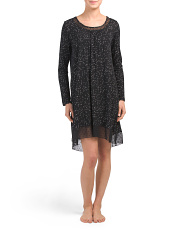 Long Sleeve Starry Dots Nightgown