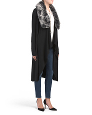 Long Sleeve Duster With Detachable Faux Fur