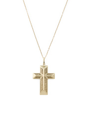 Made In Italy 14k Gold Glitter Cross Necklace