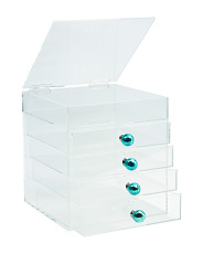 Handmade Acrylic Cosmetic Storage With Crackle Knobs