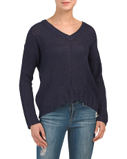 Juniors V Neck Light Ribbed Sweater