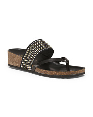 Made In Italy Beaded Wedge Sandals