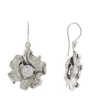 Made In Israel Sterling Silver Cz Flower Earrings