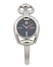 Women's Swiss Made Horsebit Black Mother Of Pearl Dial Watch