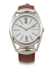 Women's Swiss Made Horsebit Brick Red Leather Strap Watch
