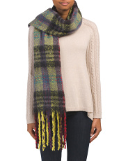 Multi Plaid Boucle Woven Scarf