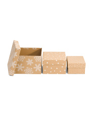 Set Of 3 Printed Craft Holiday Storage Boxes