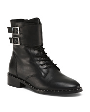 Leather Lace Up Double Buckle Mid Shaft Boots