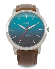 Men's Minimalist Ombre Dial Leather Strap Watch