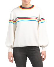 Juniors Australian Designed Rainbow Striped Knit Top