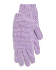 All Over Popcorn Stitch Cashmere Gloves