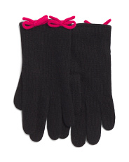 Cashmere Blend Gloves With Tubular Bows