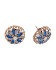 Made In Italy Plated Sterling Silver Flower Enamel Earrings