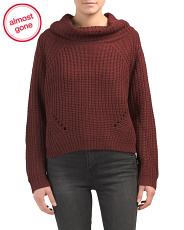 Juniors Cowl Neck Shaker Knit Sweater