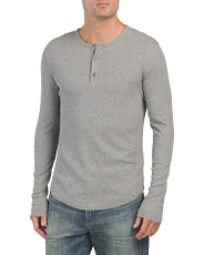 Long Sleeve Ribbed Henley Shirt