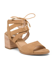 Leather Tie Up Comfort Heel Sandals