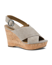 Suede Cork Wedge Sandals