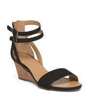 Double Strap Leather Wedge Sandals
