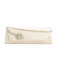 Satin Aria Jewel Flap Clutch With Shoulder Strap