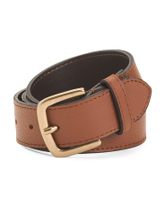 Made In Italy Leather Gold Buckle Belt