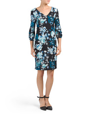 Floral Dress With Lantern Sleeve