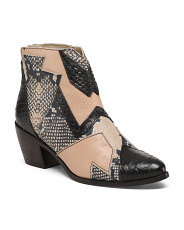 Made In Brazil Embossed Leather Booties