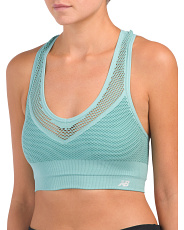 Mesh Overlay Sports Bra With Keyhole