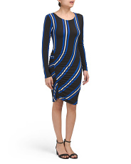 Juniors Long Sleeve Ruched Dress