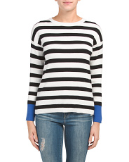 Striped Sweater With Contrast Tipping