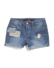 Big Girls Patchwork Stretch Denim Shorts