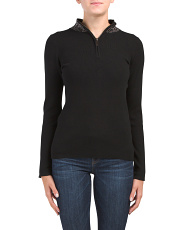 Studded Quarter Zip Front Sweater
