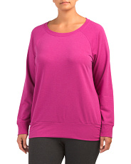 Plus Terry Long Sleeve Side Ruched Top