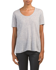 Cashmere Double Trim Scoop Neck Top