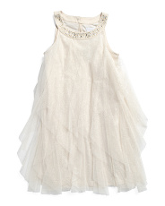 Little & Big Girls  Mesh Cascade Dress With Jeweled Neck