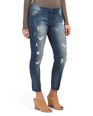 Ankle Straight Leg Raw Hem Jeans