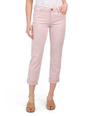 Amy Straight Leg Roll Up Cropped Jeans