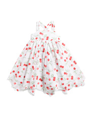 Toddler Girls Cherry Print Hanky Hem Dress