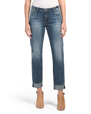 Amy Ankle Straight Leg Roll Up Jeans