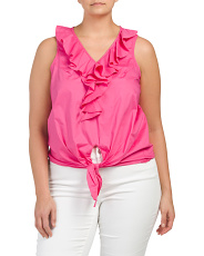 Plus Sleeveless Tie Front Ruffle Top