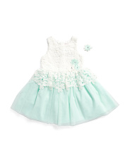 Little & Big Girls Lace Overlay Mesh Dress With Hairclip