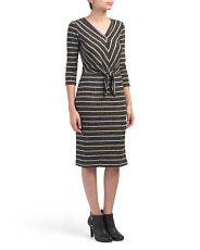 Juniors Stripe Dress With Tie Front