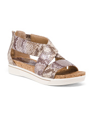 Snake Print Cross Band Sport Sandal